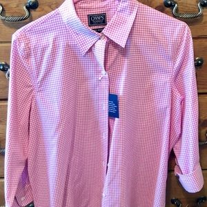 CHAPS Pink & White Gingham Button Down Top